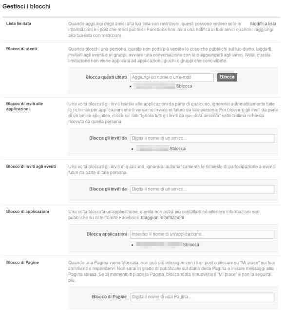 configuración de bloques de facebook