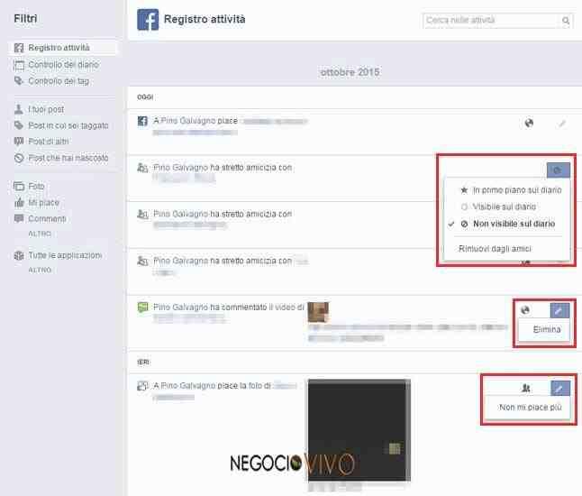 registro de actividad en facebook
