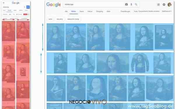 Diseño de la búsqueda de imágenes de Google: mobile=columns; desktop=lines