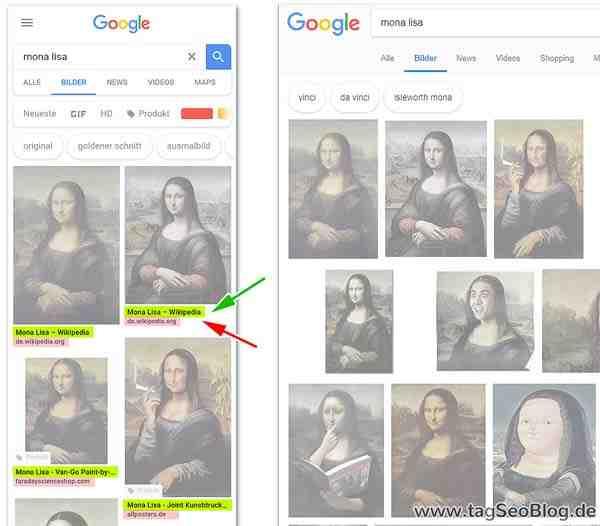 La búsqueda de imágenes para móviles de Google muestra más información: Título y dominio de la página