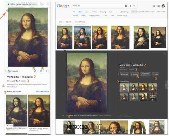 Visualización de la imagen grande en la búsqueda de imágenes de Google. Izquierda: Dispositivo móvil, derecha: Escritorio